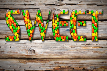 "Inscription ""sweet "" from the multi-colored candy sweets"