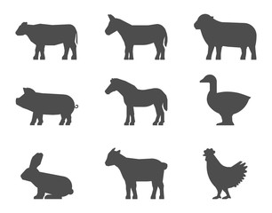 Black set of farm animal silhouettes on a white background.