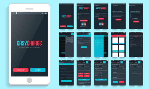 Mobile User Interface for Online Payment options.