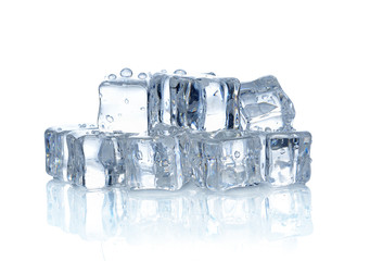 Ice cubes isolated on the white background