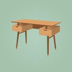Floating Desk Teak Brown Wooden Furniture