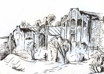 Mansion on the banks of the river. Sketch with black ink