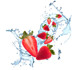 Printed roller blinds Splashing water Water splash with fruits isolated on white backgroud. Fresh strawberry