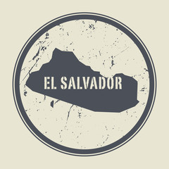 Stamp with the name and map of El Salvador