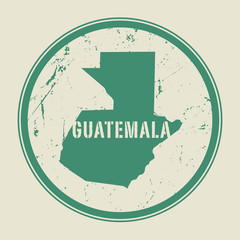 Stamp with the name and map of Guatemala