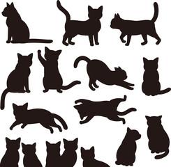 猫のシルエット素材セット