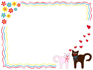 Cat and Kitty on greeting card