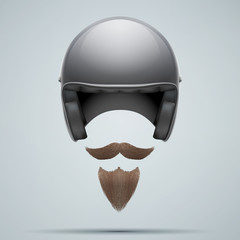 Motorcyclist symbol with mustache and beard.