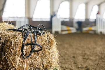 Horse equipment on a fresh bricks of hay