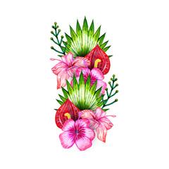 Tropical flowers composition