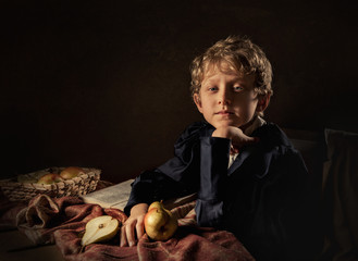 Boy with pears fine art imitation