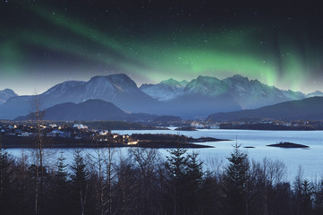 Norwegian landscape during the Northern Lights