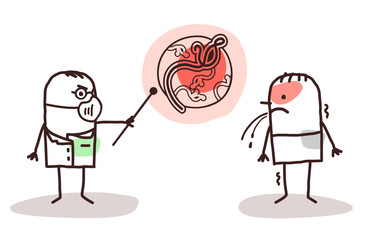 cartoon doctor and patient with Ebola virus
