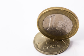euro and russian rubles coins