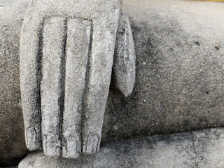 Hand of buddha statue in a temple in ayutthaya thailand