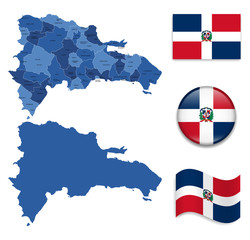 High Detailed Map of Dominican Republic With Flag Collection