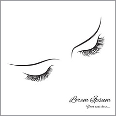 Closed eyes with long eyelashes Sample logo for a beauty salon, beauty products