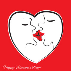 Kissing people. Frame in the form of heart. Big lips, funny vector illustration.