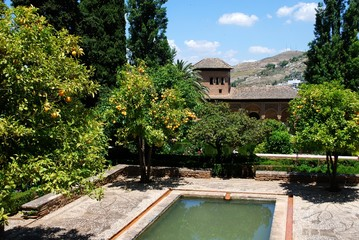 View of the Partel Gardens, Alhambra Palace.