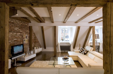 Modern wooden  interior in private house.  Studio.