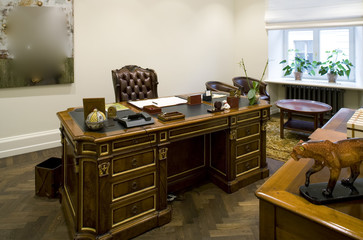 Office cabinet in old style. Wooden design.