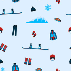 Seamless pattern clothes and accessories for snowboarding. Vector illustration