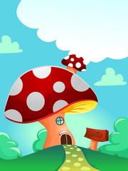 Illustration of Red Mushroom House