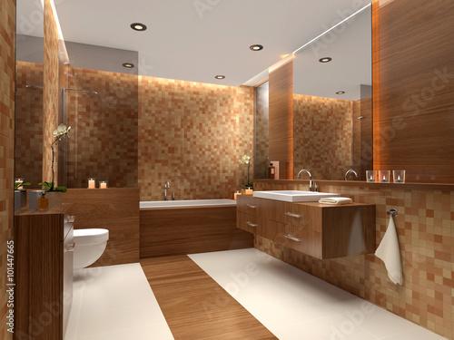 Helles Badezimmer Mit Warmen Farben Und Materialien Stockfotos Und
