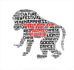 Happy Chinese New Year 2016 word cloud. Year of the Monkey typography background.