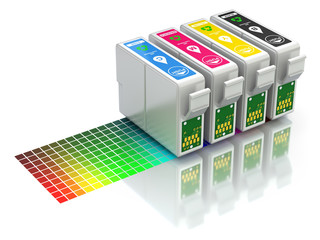 CMYK set of cartridges for ink jet printer