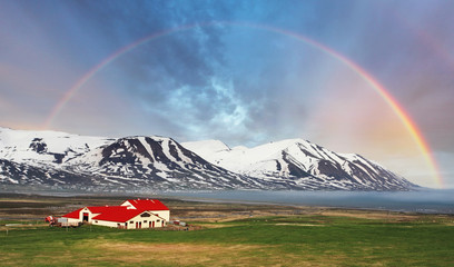 Wall Mural - Iceland landspace mountain with rainbow
