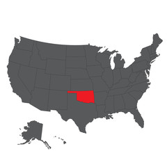 Oklahoma red map on gray USA map vector