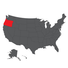 Oregon red map on gray USA map vector