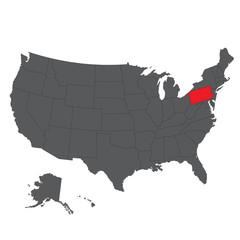 Pennsylvania red map on gray USA map vector