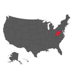 West Virginia red map on gray USA map vector