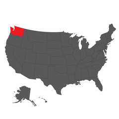 Washington red map on gray USA map vector
