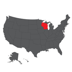Wisconsin red map on gray USA map vector