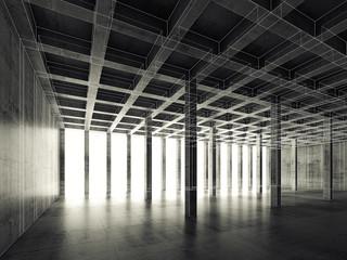 Empty dark concrete room, 3d illustration, wire-frame
