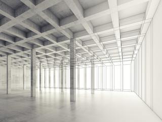 Concrete room, 3d illustration, wire-frame effect