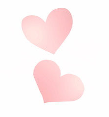 pink gradient hearts on a white background (clipping path)