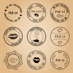 black post stamps for valentine day - vector elements