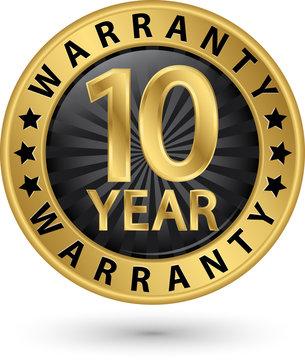 10 year warranty golden label, vector illustration