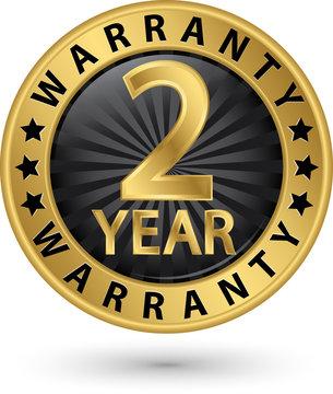 2 year warranty golden label, vector illustration