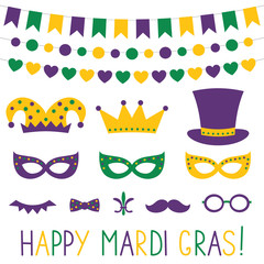 Mardi Gras decoration and photo booth props