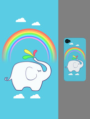 Mobile Phone Case Cover, Creative Illustration and Innovative Art: Rainbow Elephant in the Sky. Realistic Fantastic Cartoon Style Artwork Scene, Wallpaper, Story Background, Card Design
