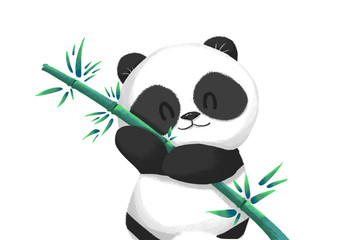 Illustration: Cute Panda Baby with its Bamboo Food. Realistic Fantastic Cartoon Style Artwork, Story Character, Wallpaper, Wish Card Design