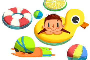 Creative Illustration and Innovative Art: Cute Swimming Girl and Boy isolated in White Background. Realistic Fantastic Cartoon Style Artwork Scene, Wallpaper, Story Background, Card Design
