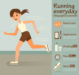 Woman running,Info-graphic elements.