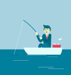 Businessman fishing in the blue sea,Blue ocean strategy