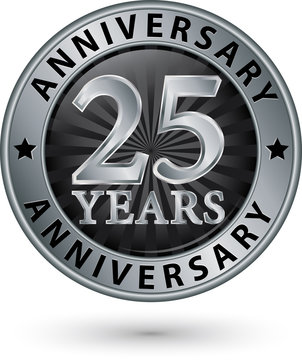 25 years anniversary silver label, vector illustration